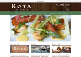 Restaurant website build for Kota Porthleven | t2design Penzance