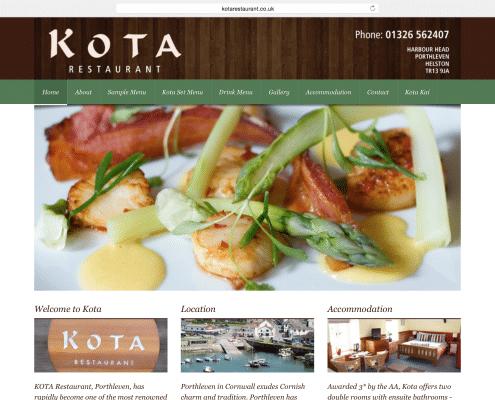 Restaurant website build for Kota Porthleven | t2design Penzance