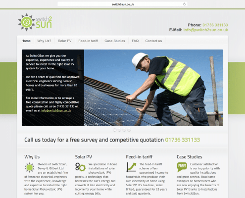 Penzance website designer t2design | switch2sun