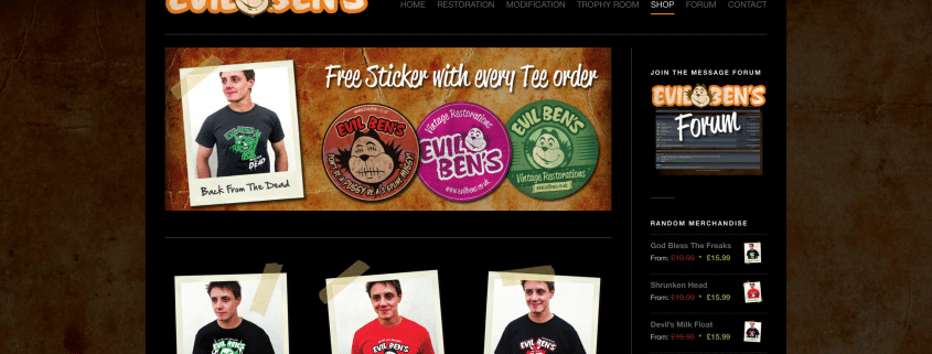 Website and Online Shop design and build for Truro based Evil Bens
