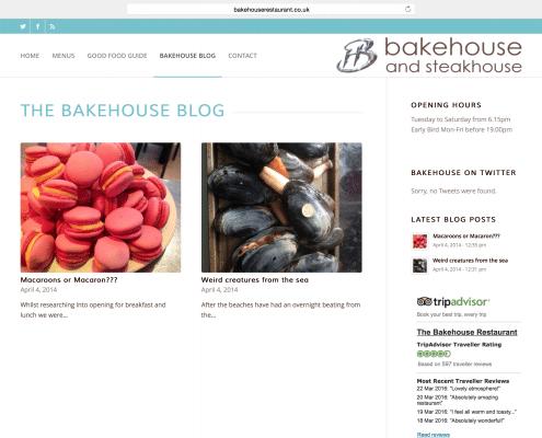 Online blog and website design for The Bakehouse Restaurant Penzance