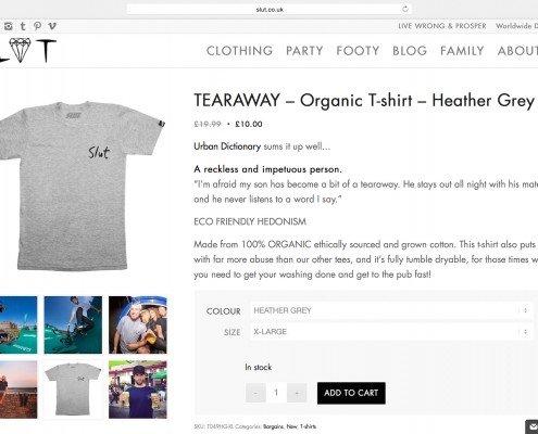 Online shop bu t2 web design penzance for Slut Clothing