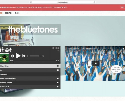 The Bluetones website design and hosting by t2design penzance