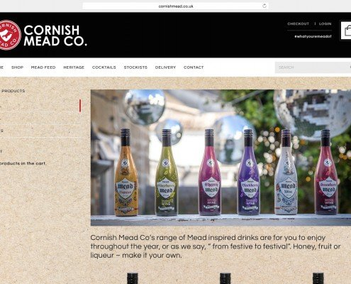 Website design and build for Cornish Mead company Penzance | t2design
